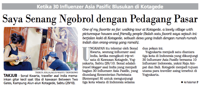 Sonal of Drifter Planet featured on Tribune Jogja