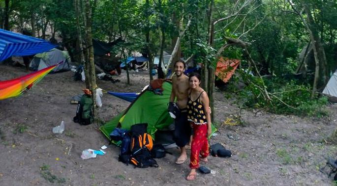 San and I with our tent and hammock