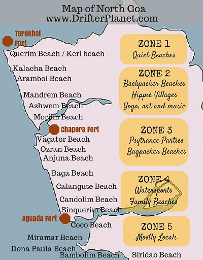 Detailed Map of North Goa Beaches by Drifter Planet
