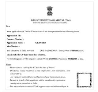 Indian etourist visa