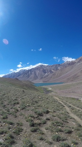 Chandra taal lake from a distance - Hampta Pass trek