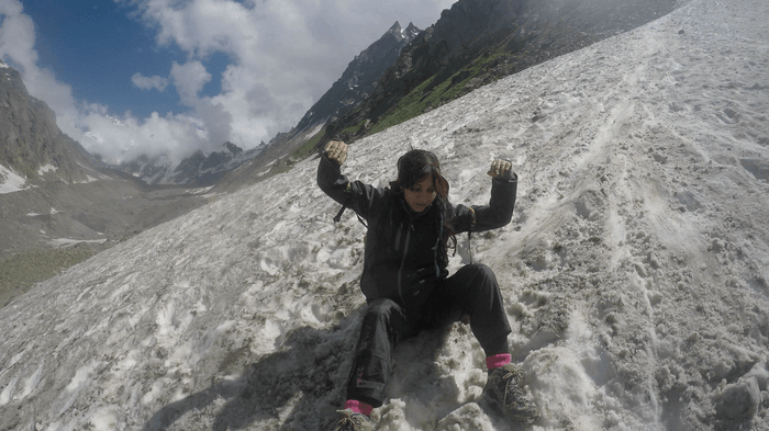 Hampta Pass - Snow slide