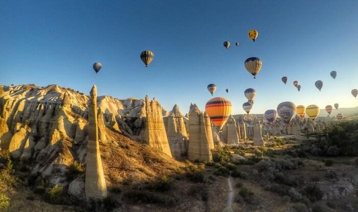 Flying over Fairy Chimneys - Hot air balloon ride in Cappadocia
