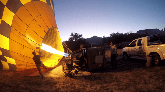 Getting Ready to fly - Hot air balloon ride in Cappadocia