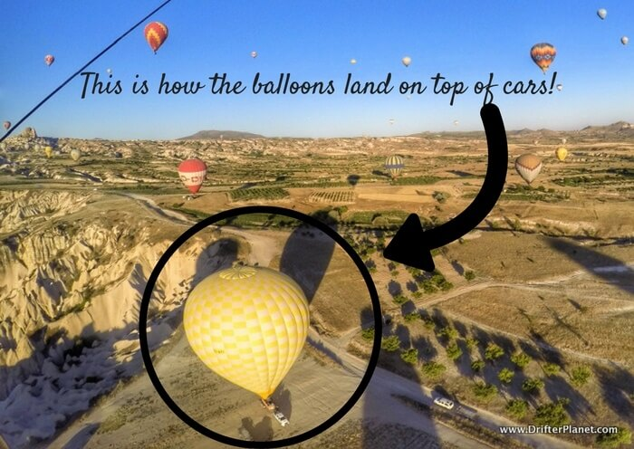 This is how the balloons land on top of cars! - Hot Air Balloon Ride in Cappadocia, Turkey
