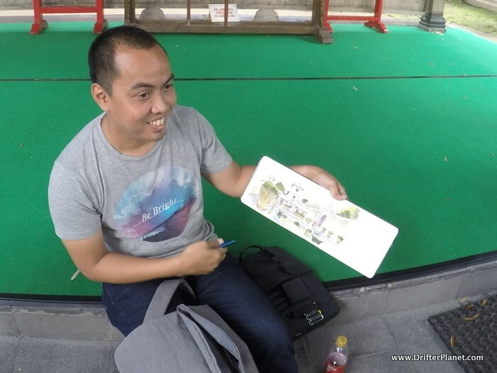 Urban Sketcher, Yandi Prayudhi on the streets of Kotagede