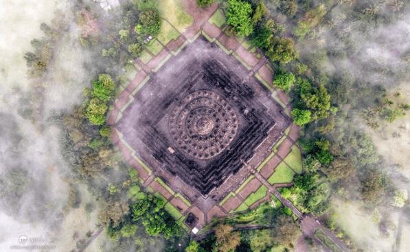 Aerial view of Borobudur Temple, Yogyakarta by Will Cho