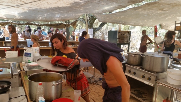 San and I working inside Lost Theory Festival's kitchen