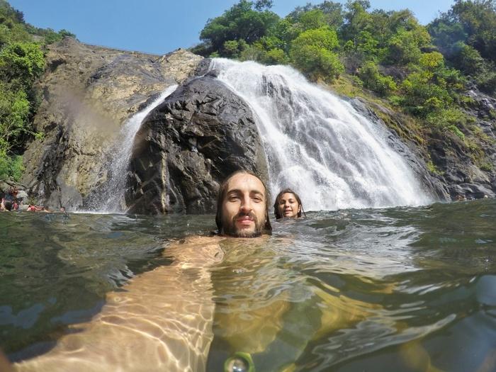 San and I enjoying our cold dip at Dudhsagar Waterfall