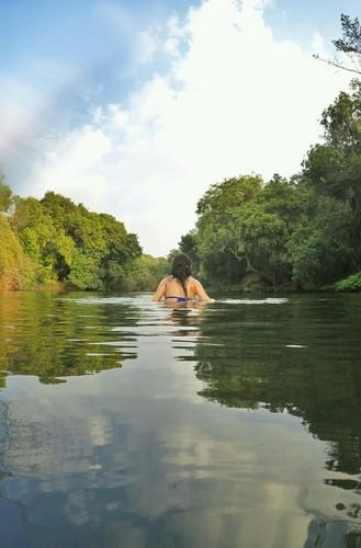 Amazing river swim outside Dudhsagar Plantation, Goa