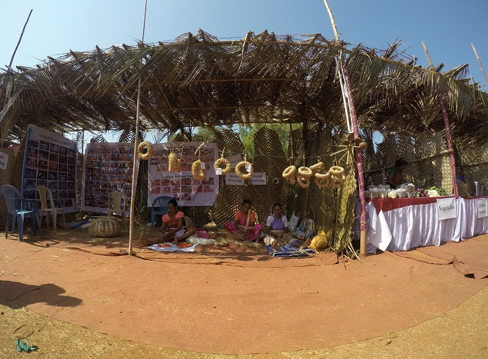 Villagers crafting new things at Goa Tribal Festival